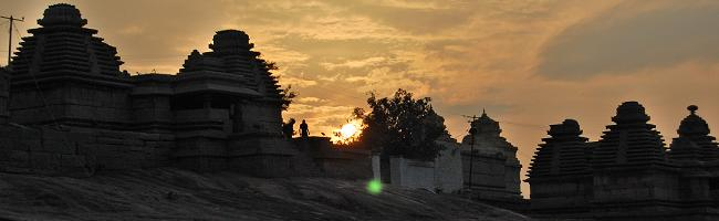 Hampi ruins at sunset